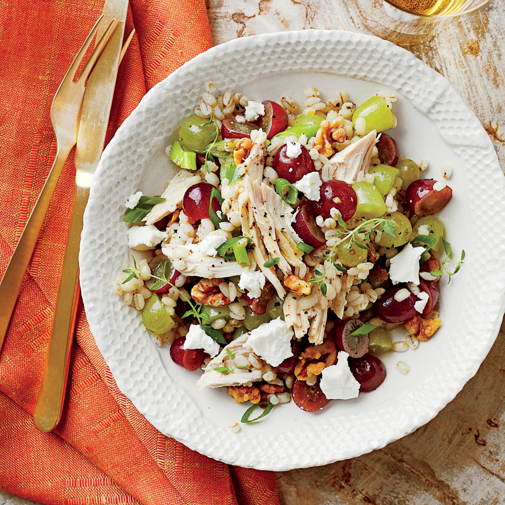 Barley Salad With Chicken Goat Cheese Walnuts Recipe Myrecipes