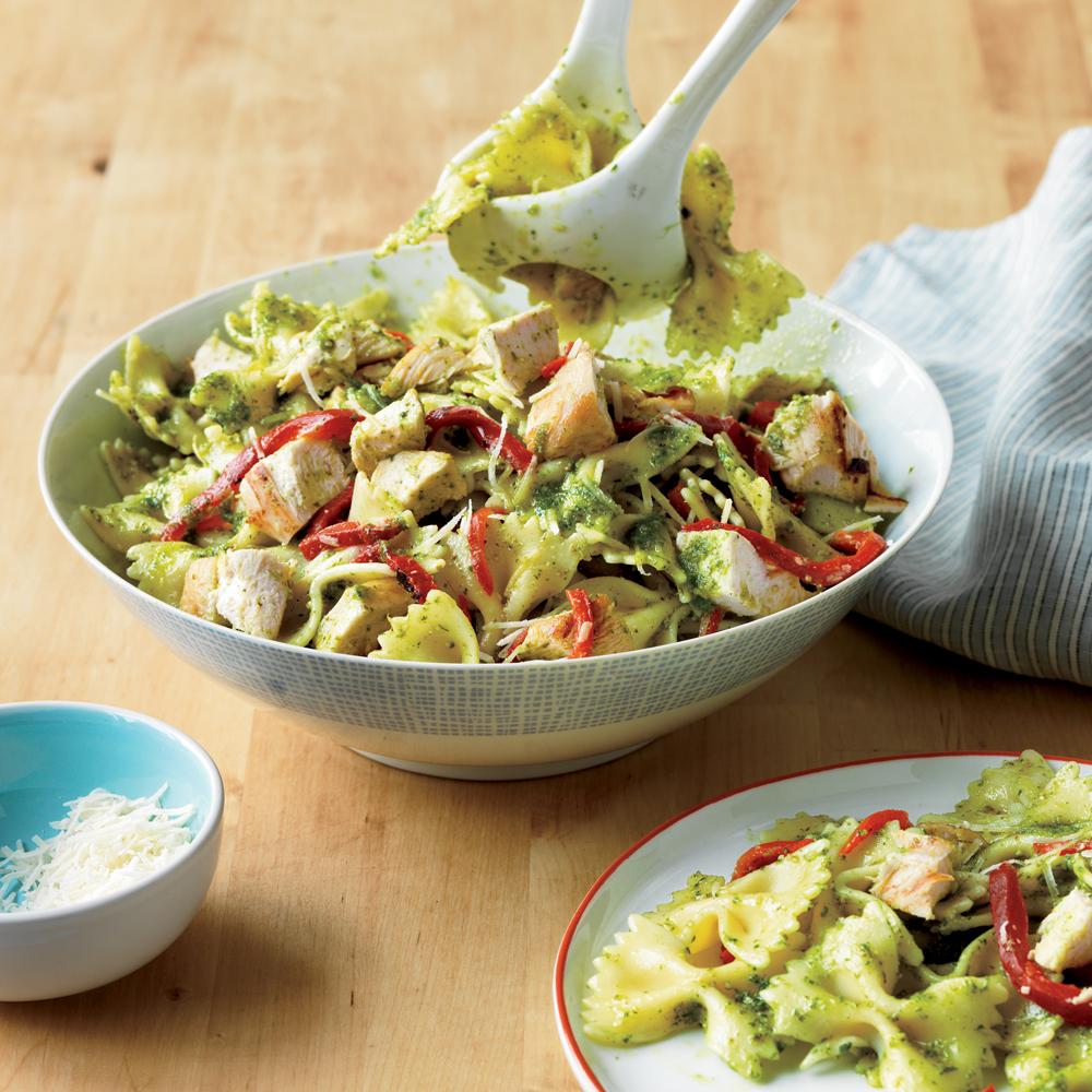 bow tie pasta with chicken and pesto recipe myrecipes