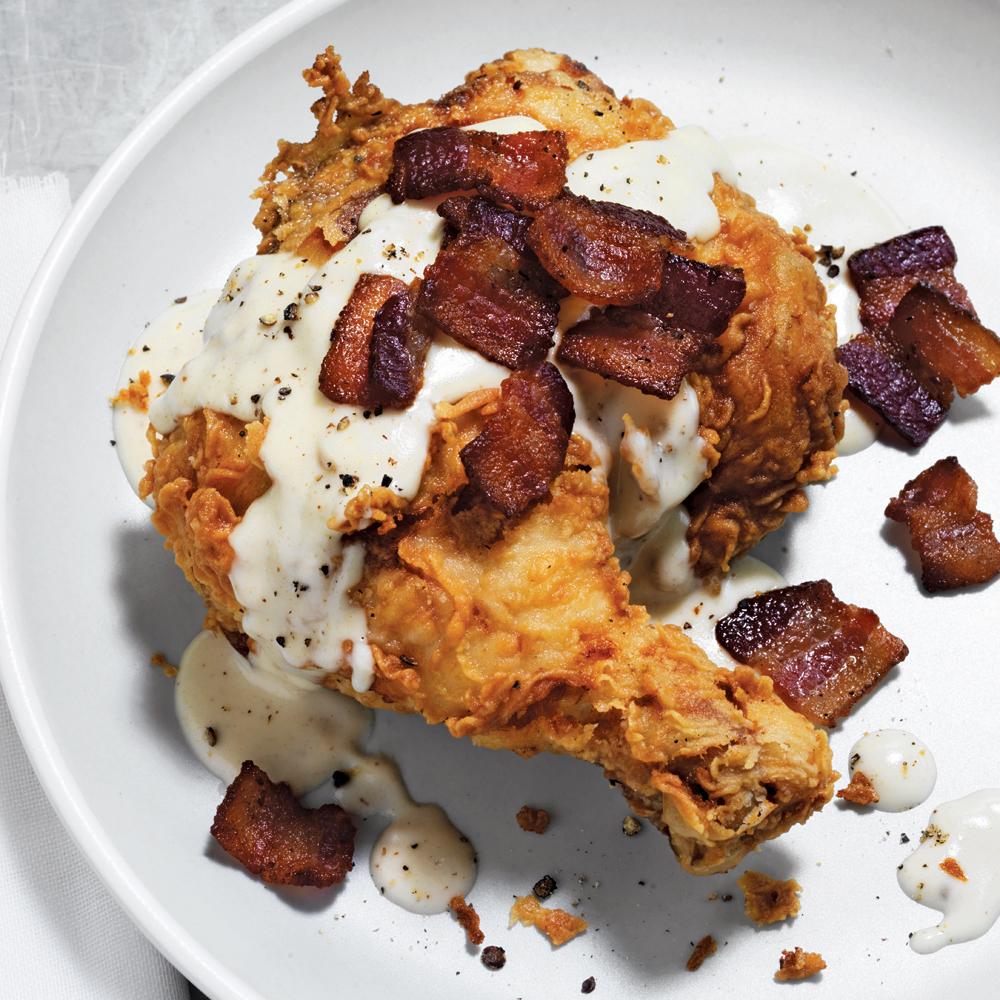Buttermilk-Soaked, Bacon-Fried Chicken in Gravy