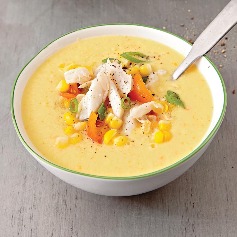 Corn Gazpacho with Crab