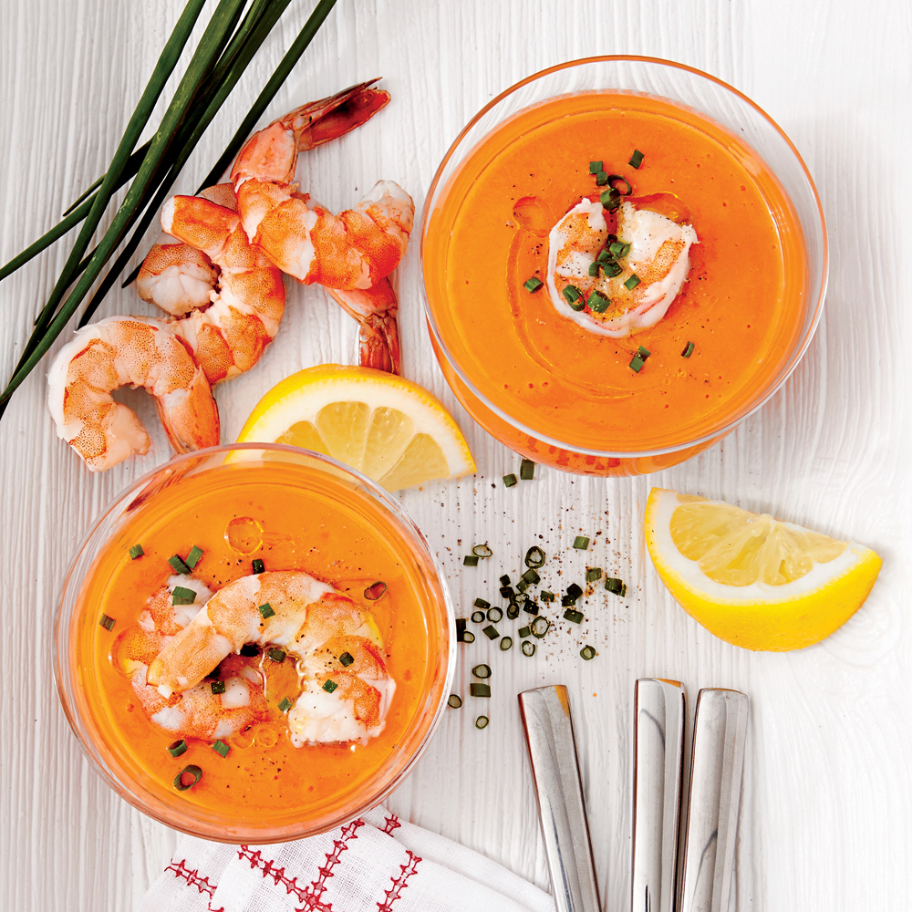 Creamy Tomato Gazpacho with Shrimp