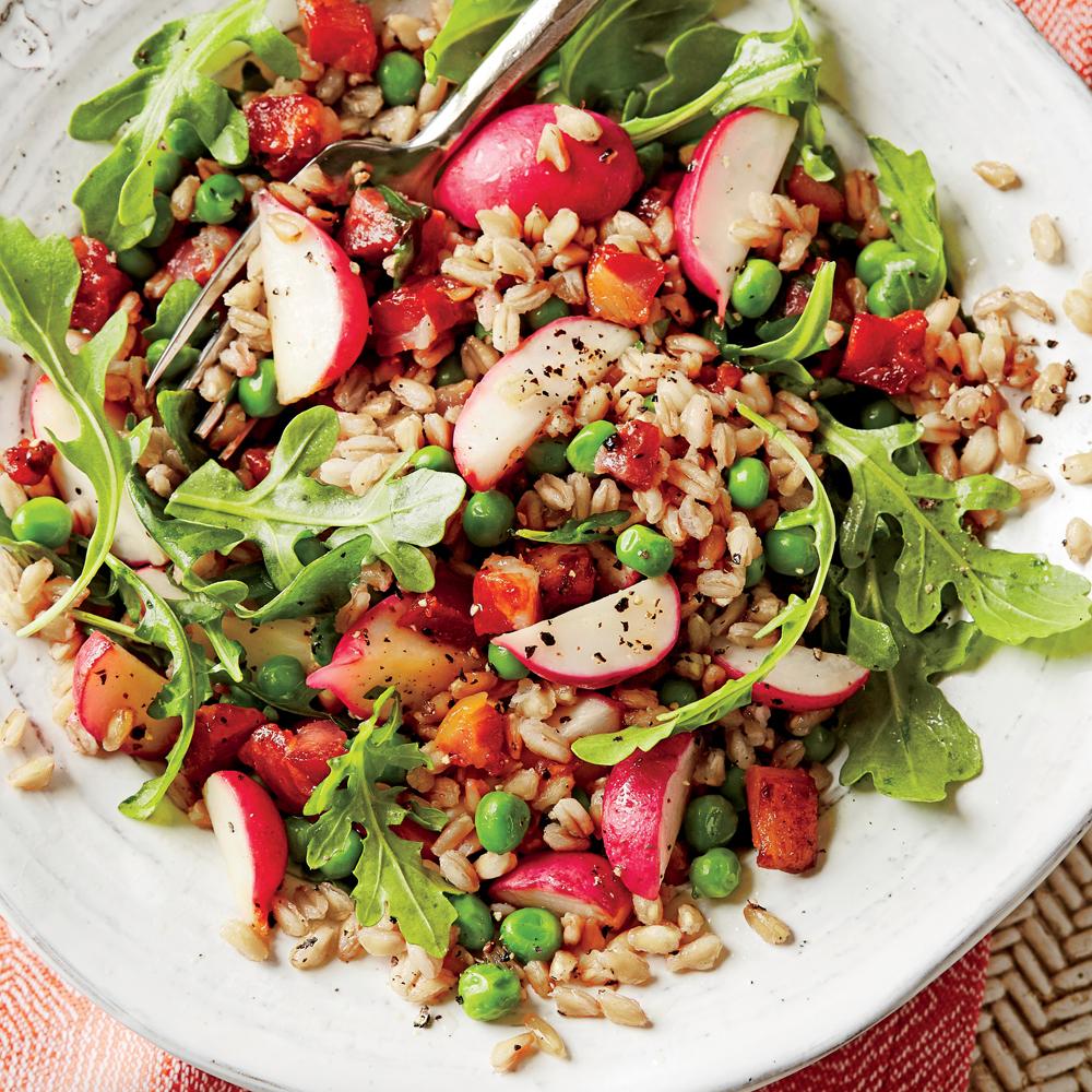 Farro Salad With Peas Pancetta And Radishes