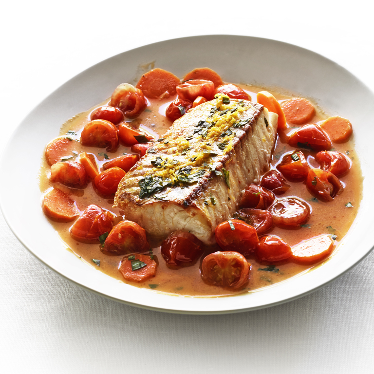 Seared Cod in Cherry Tomato and Tarragon Nage