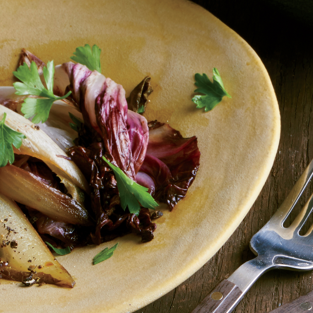 Braised Balsamic Endive and Radicchio