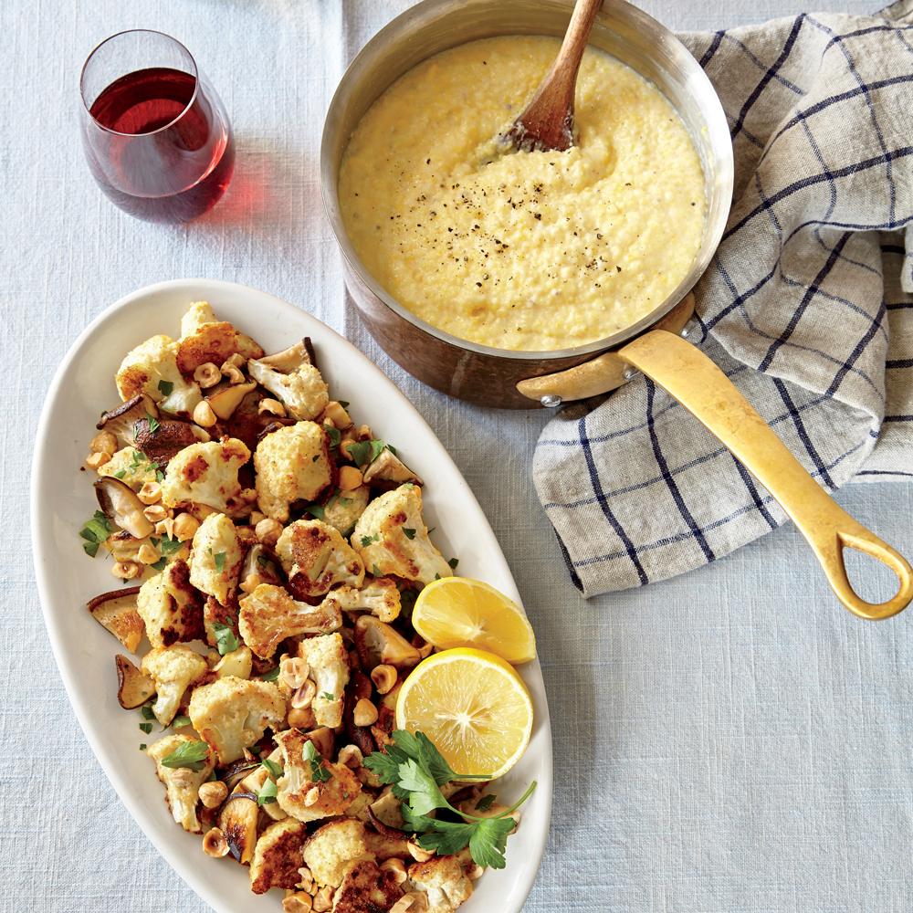 warm mushroom salad with crispy polenta
