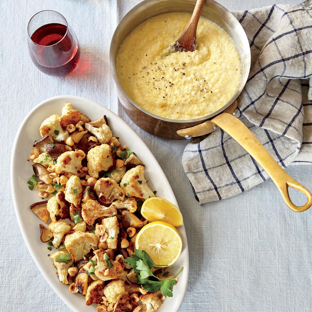 Crispy Cauliflower, Mushrooms, and Hazelnuts over Polenta
