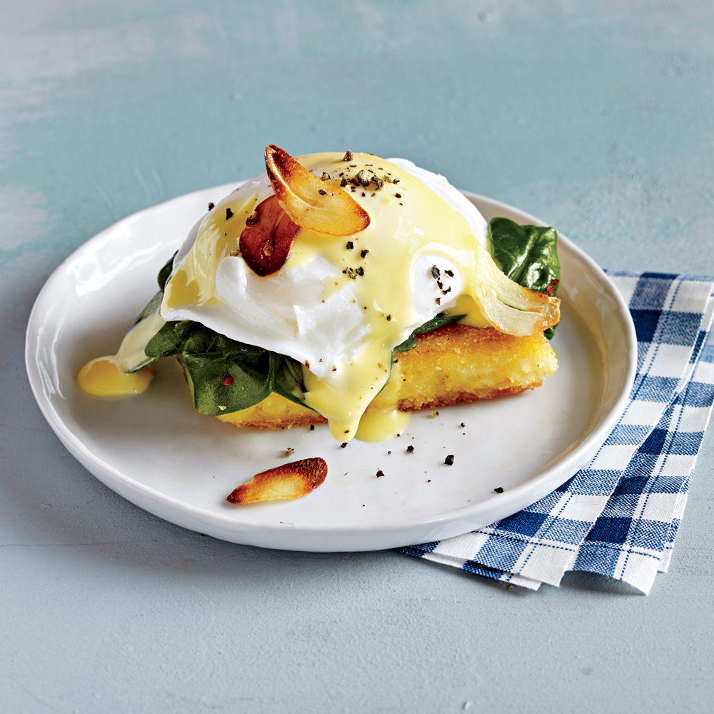 Eggs Florentine over Seared Polenta Recipe   MyRecipes