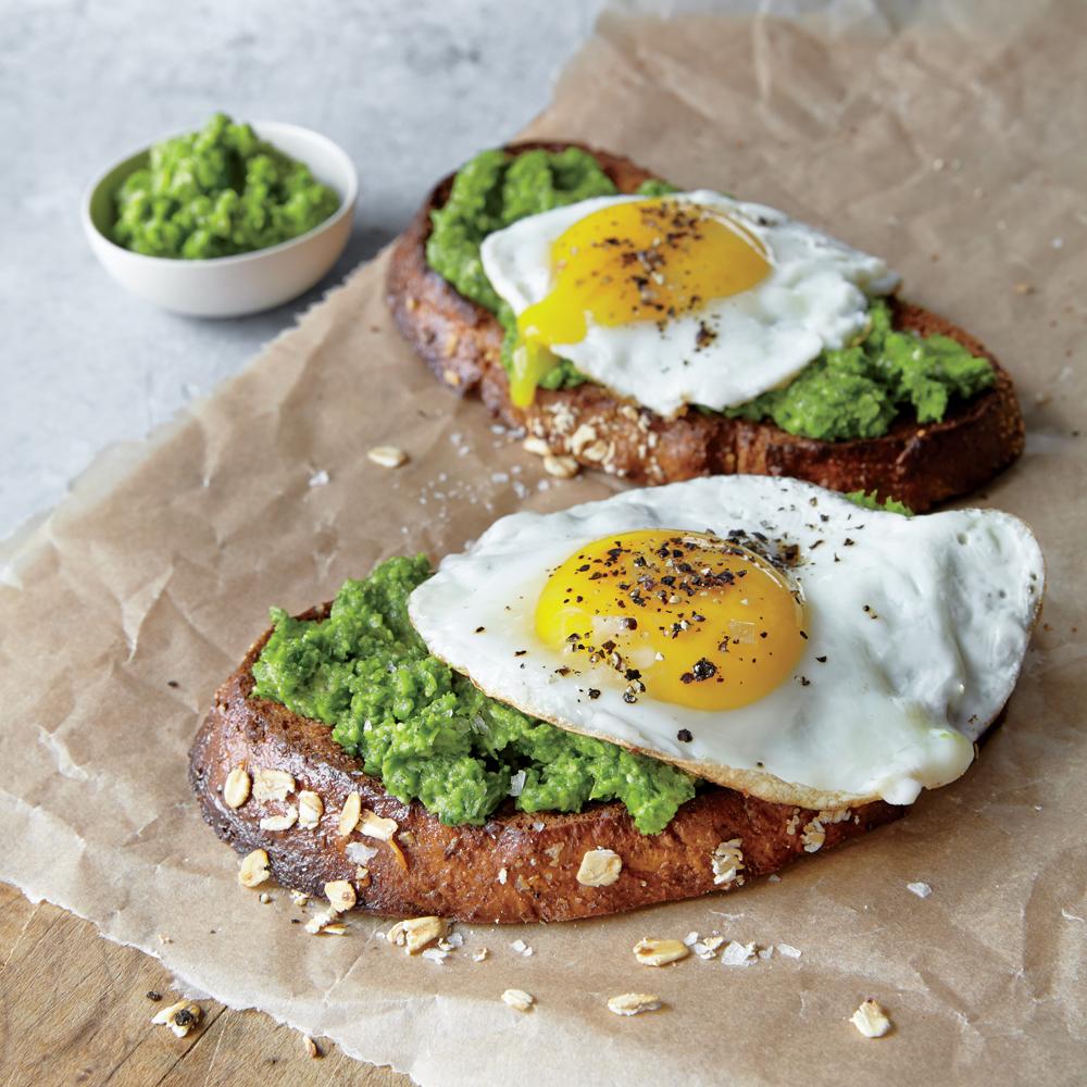 Mustard Green Pesto and Egg Open-Faced Sandwiches