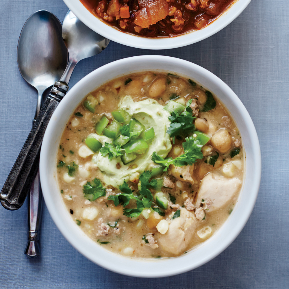 White Chili with Avocado Cream