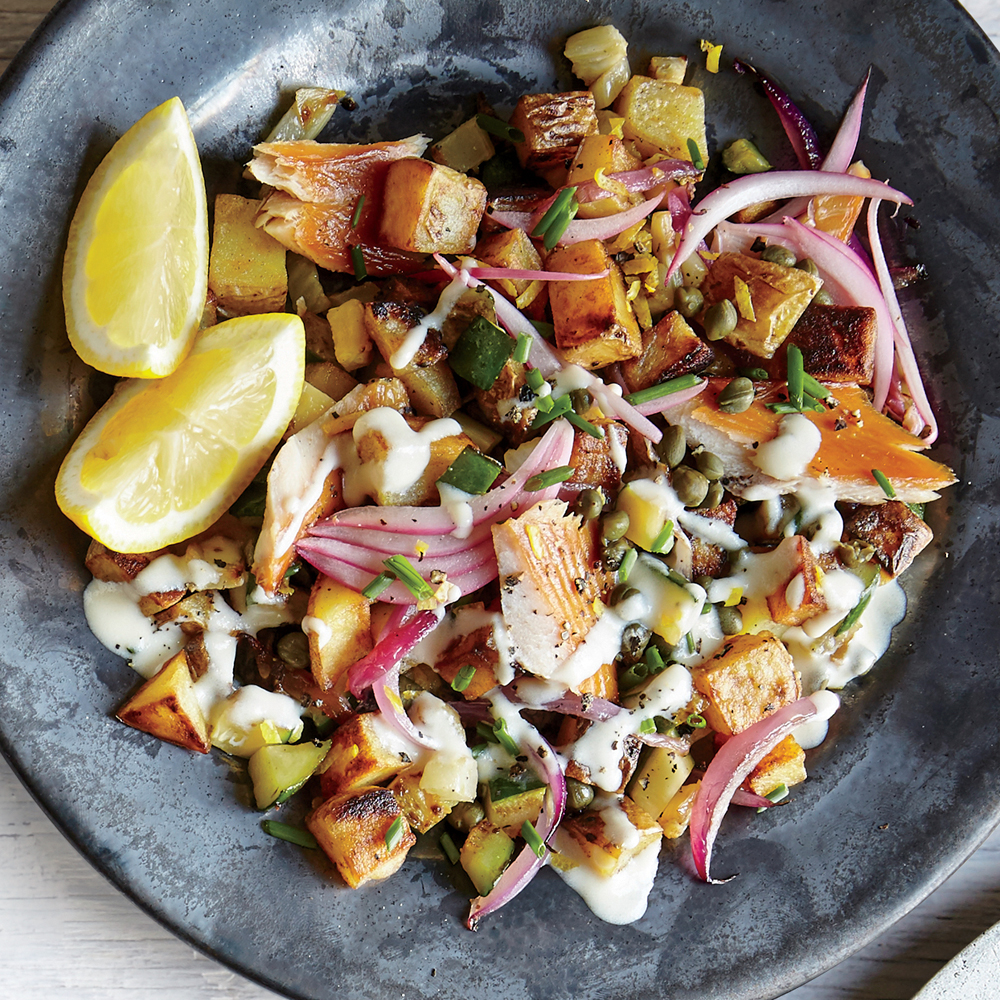 Lemony Smoked Trout Hash