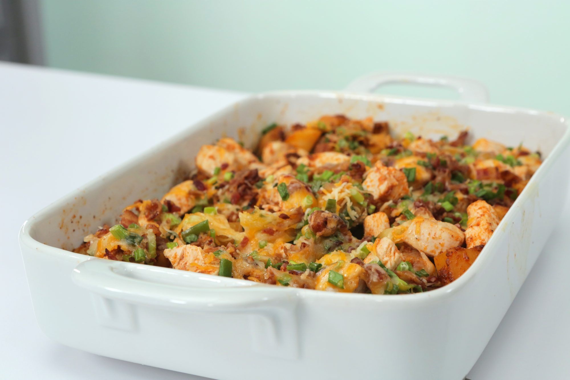 <p>Loaded Potato and Buffalo Chicken Casserole</p>