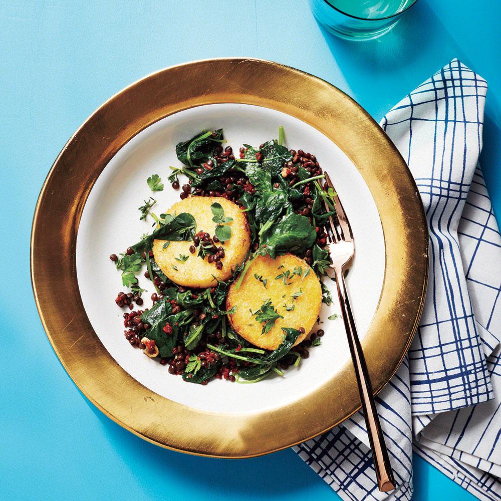 Crispy Polenta with Warm Lentils and Kale