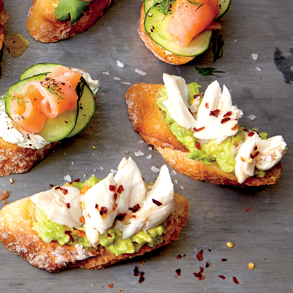 Crostini with Avocado, Crab, and Flake Salt