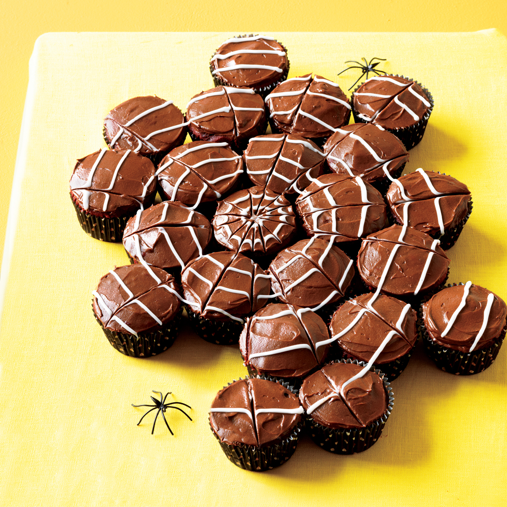 Red Velvet Cobweb Cupcakes