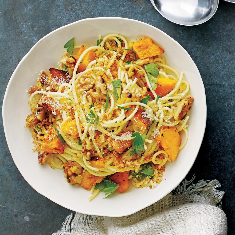 Spaghetti with Squash, Walnuts and Parmesan