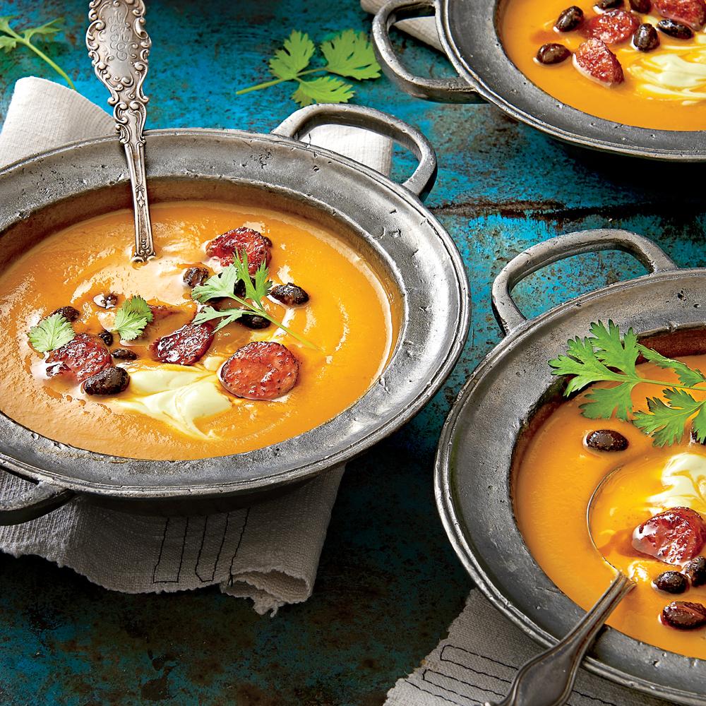 Spicy Pumpkin Soup with Avocado Cream Recipe | MyRecipes