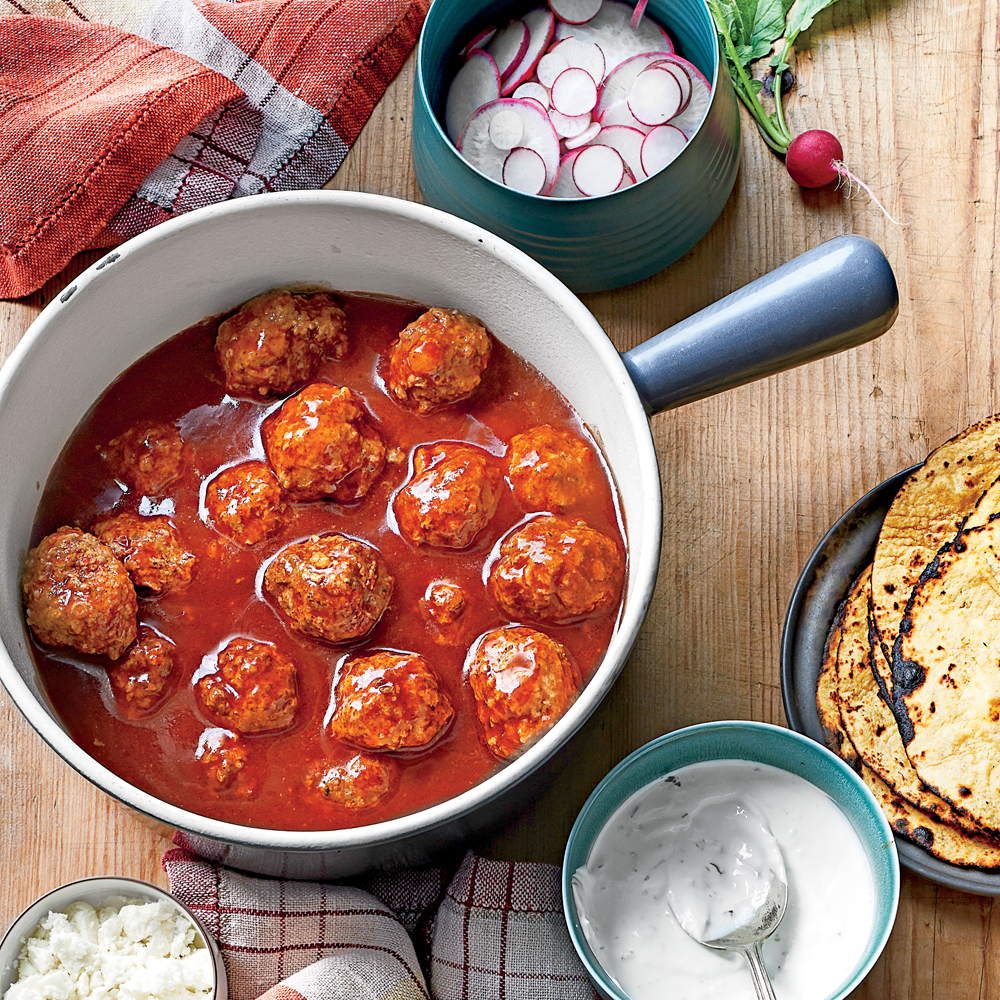 Tex-Mex Meatballs in Red Chile Sauce Recipe | MyRecipes