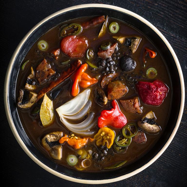 Black Garlic and Lentil Soup