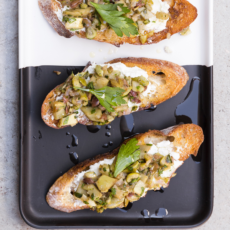 Goat Cheese, Artichoke, and Olive Bruschetta