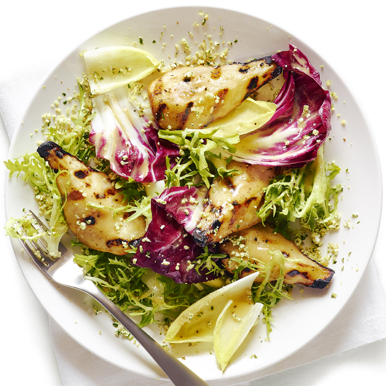 Grilled Pear, Chicory, and Endive Salad