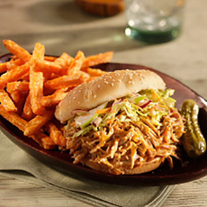 Open-Faced Pulled Pork Sandwich with Spicy Coleslaw