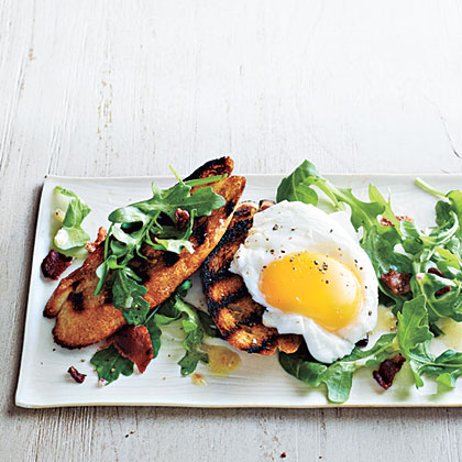 Poached Egg and Arugula Salad Bruschetta Recipe | MyRecipes.com