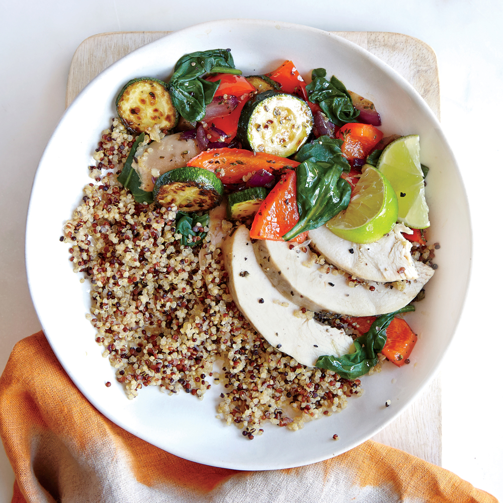 Fresh vegetable quinoa bowl recipe myrecipes for Cuisine quinoa