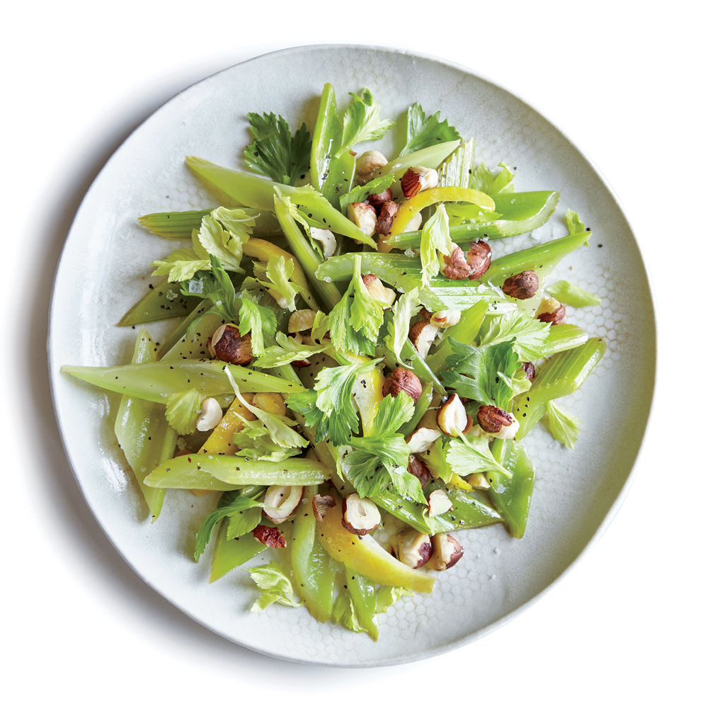 Lemony Braised Celery with Hazelnuts
