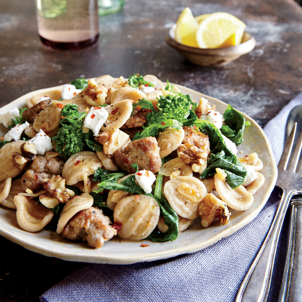 Orecchiette with Turkey Sausage, Broccoli Rabe, and Walnuts
