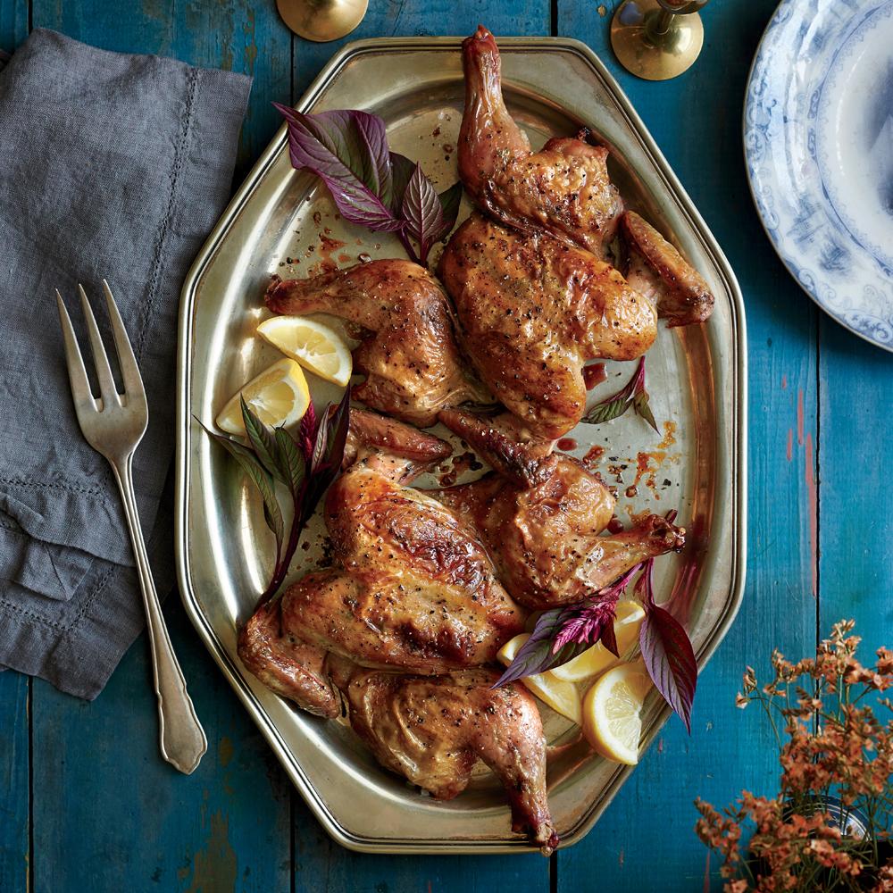 Sage and Garlic-Rubbed Cornish Hens