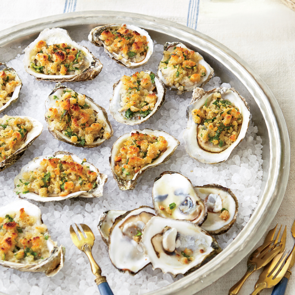 Broiled Oysters with Buttery  Dressing  Topping