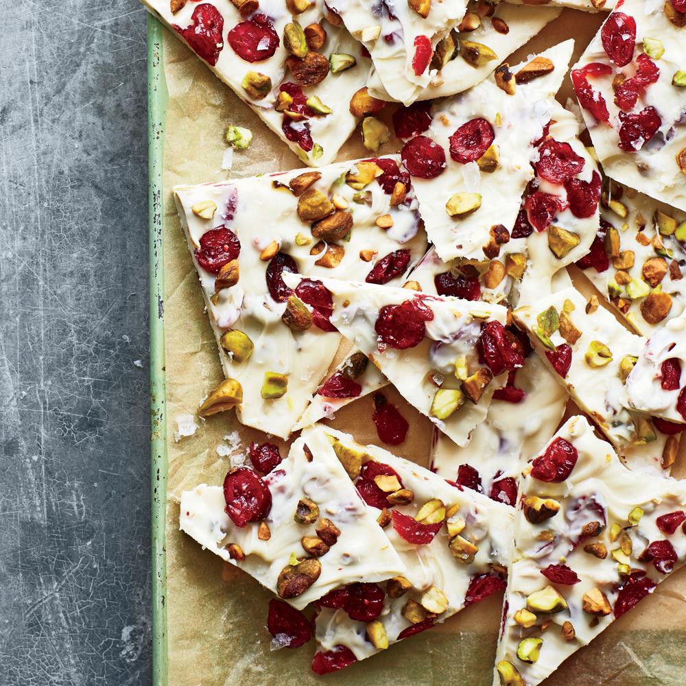 Cranberry-Pistachio White Chocolate Bark with Sea Salt