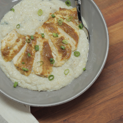 Cook With Confidence: Spicy Apple-Glazed Chick 'n' Grits Gorgonzola