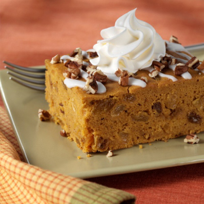 From Our Sponsor:A pumpkin cake recipe with golden raisins and pumpkin pie spice topped with a white drizzle and nuts for a fall treatIced Pumpkin Spice Cake                            Recipe