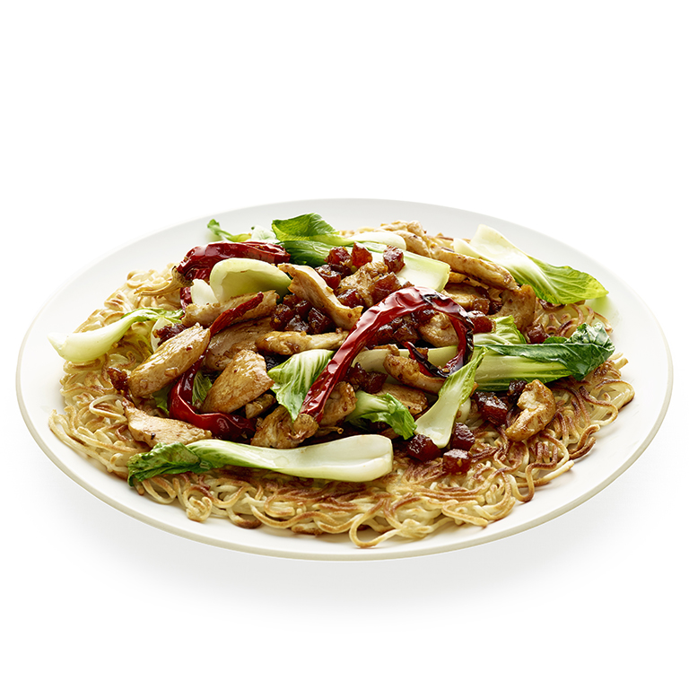 Bok Choy & Chicken Stir-Fry over Noodle Pancake Recipe | MyRecipes
