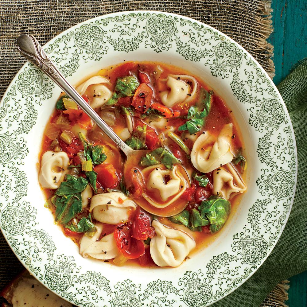 Chicken-and-Prosciutto Tortelloni Soup