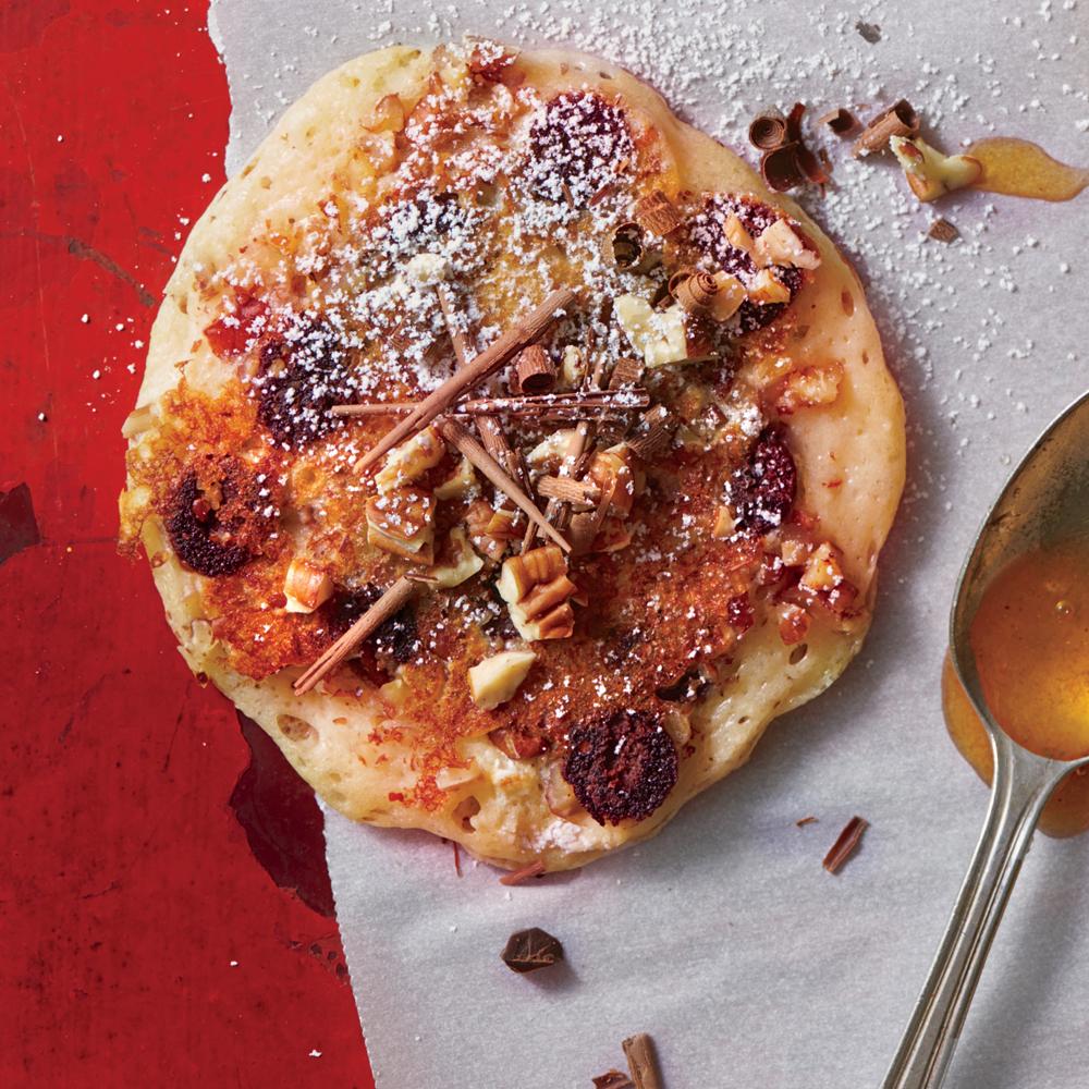 Chocolate Chip-Toasted Pecan Pancakes