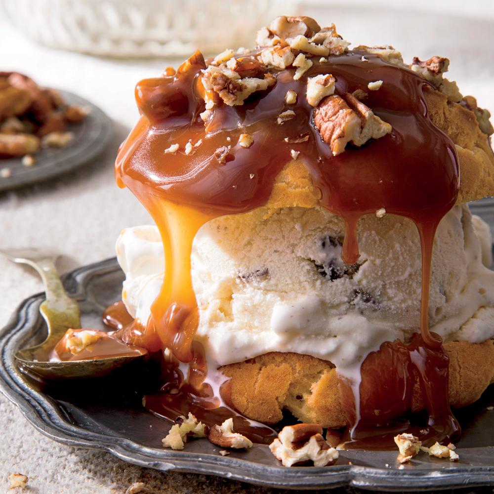 Decadent Cream Puffs & Praline Sauce & Toasted Pecans Recipe   MyRecipes