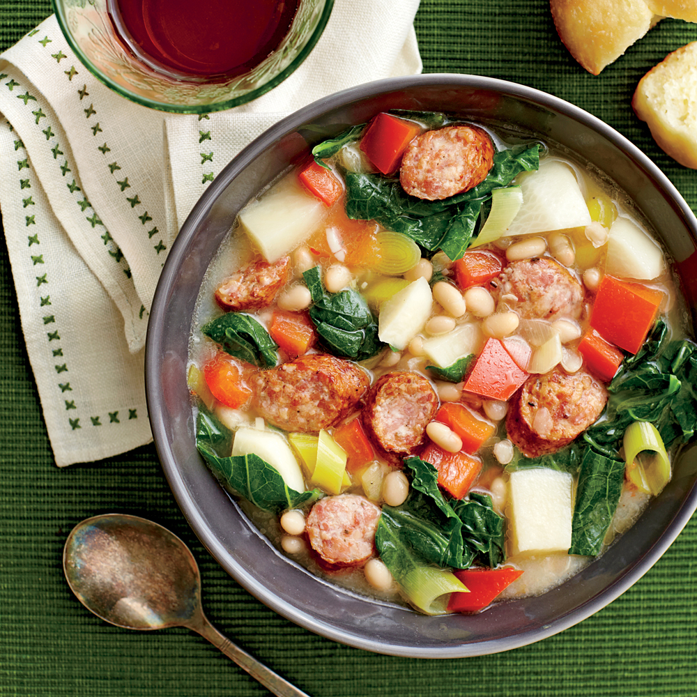 Spicy Sausage, Escarole & White Bean Stew Recipe — Dishmaps