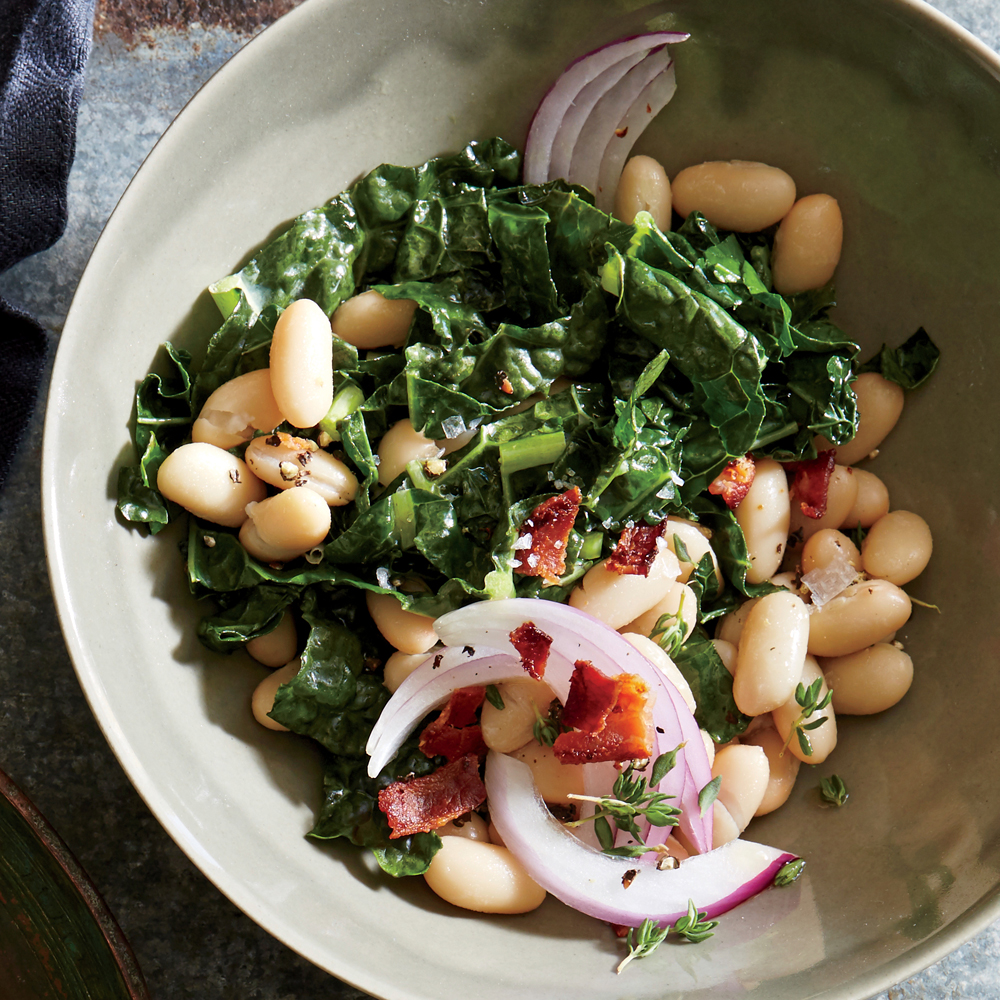 Bacon-Onion White Bean and Kale Salad