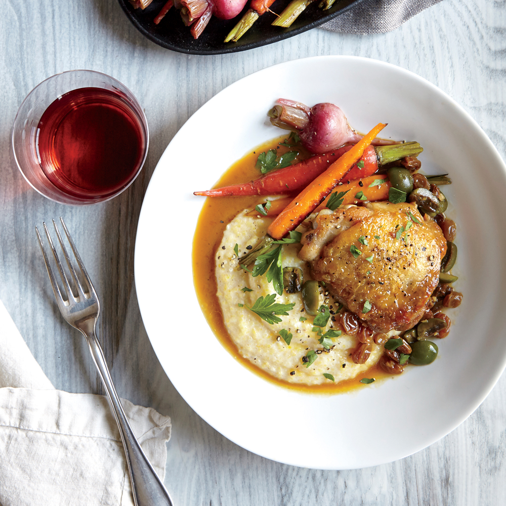 Chicken Agrodolce with Creamy Polenta