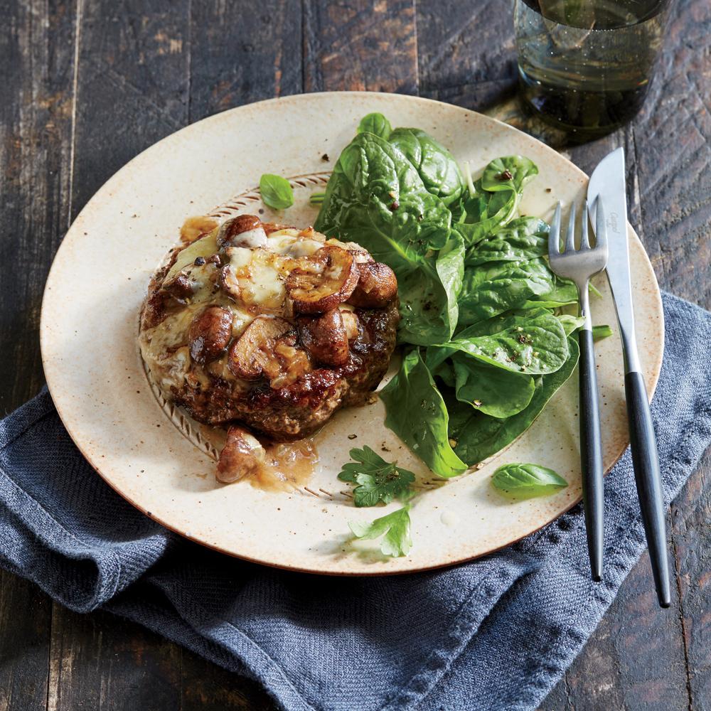 Hamburger Steaks with Sweet Onion and Mushrooms