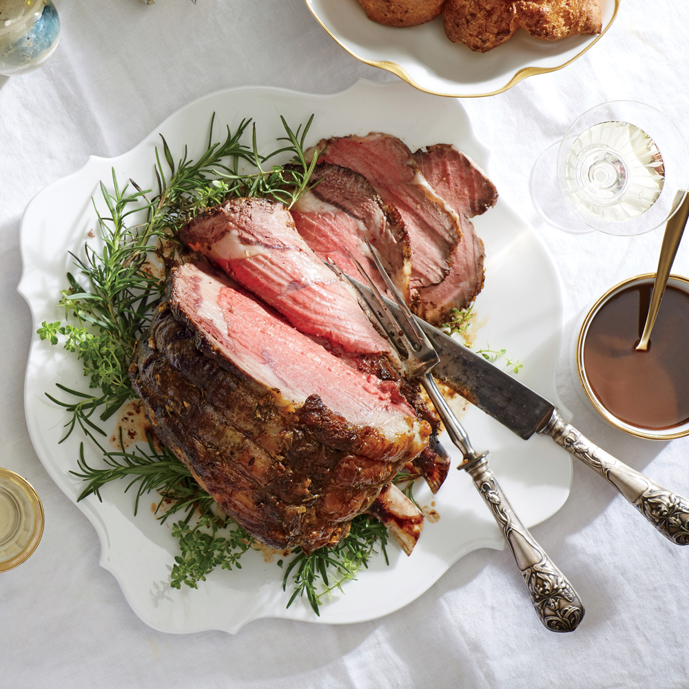 Herb-Crusted Roast Beef and Yorkshire Pudding with Red Wine Jus