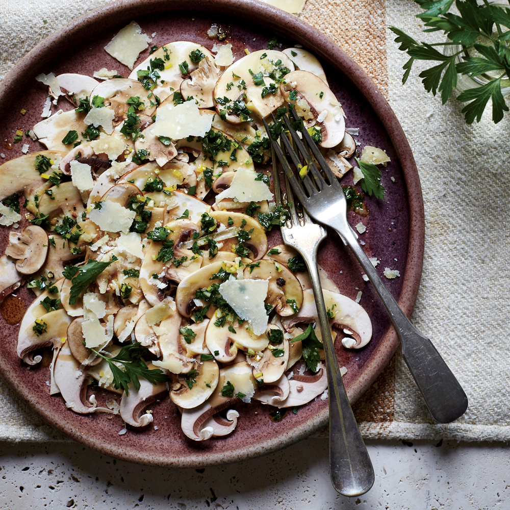 Mushroom Carpaccio with Gremolata and Shaved Parmigiano
