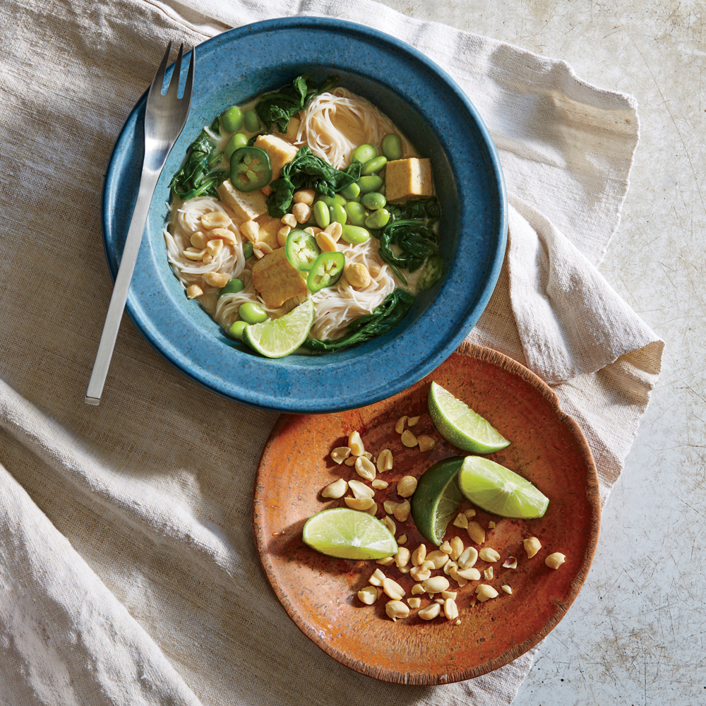 Tofu and Edamame Noodle Bowl with Caramelized Coconut Broth