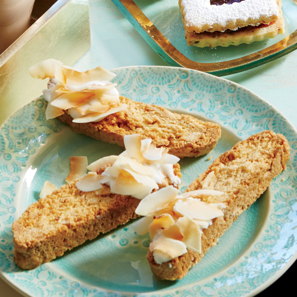 Enjoy this delicious Coconut-Almond Biscotti with your favorite cup of coffee or espresso, and you're practically sitting in a quaint Italian café. Coconut-Almond Biscotti