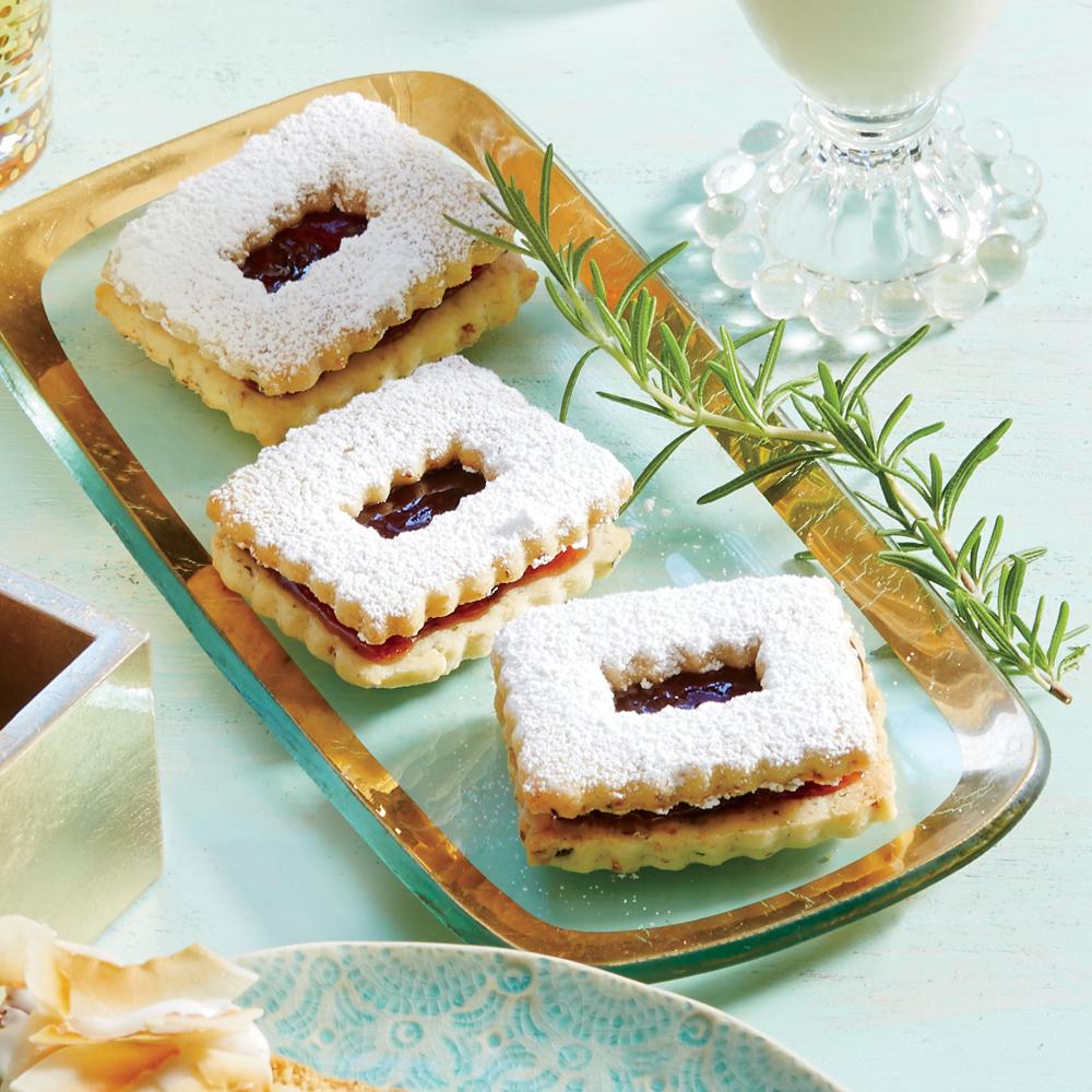 Hazelnut, Rosemary, and Plum Linzer Cookies