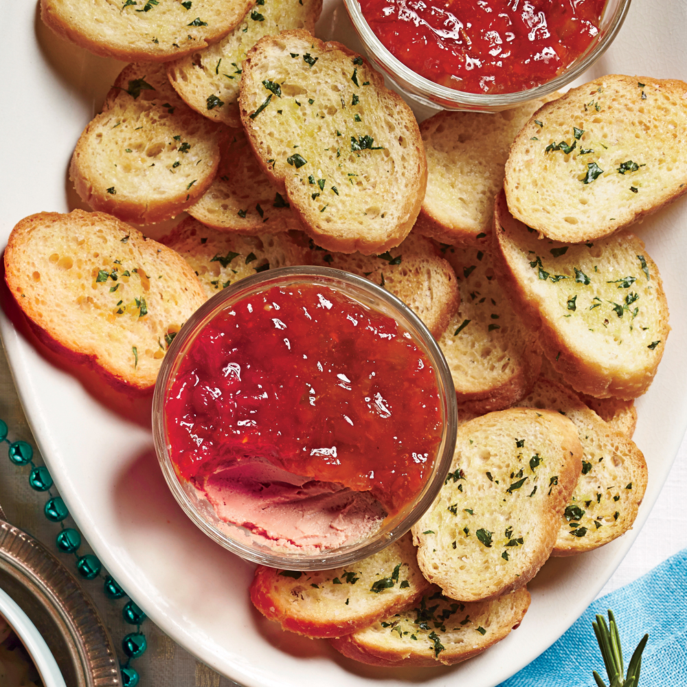 Chicken Liver Mousse Crostini with Pepper Jelly