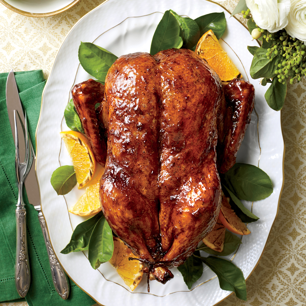Classic Roasted Duck With Orange Bourbon Molasses Glaze Recipe Myrecipes Com