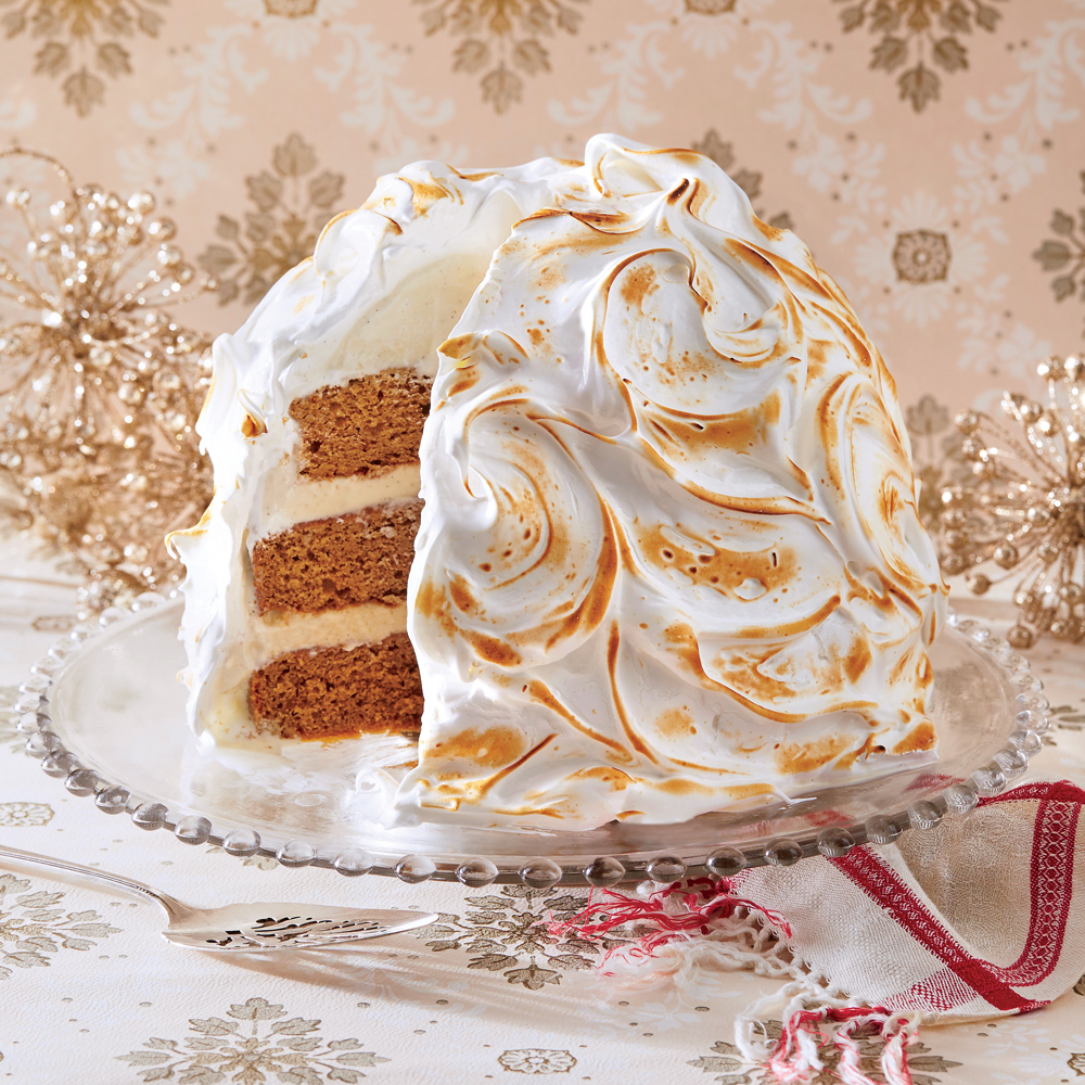 Gingerbread Baked Alaska RecipeThe mixing bowl from a heavy-duty stand mixer makes a perfect mold for assembling the cake and ice cream. Be sure your plastic wrap extends well beyond your bowl to completely cover your cake and ice cream mixture.